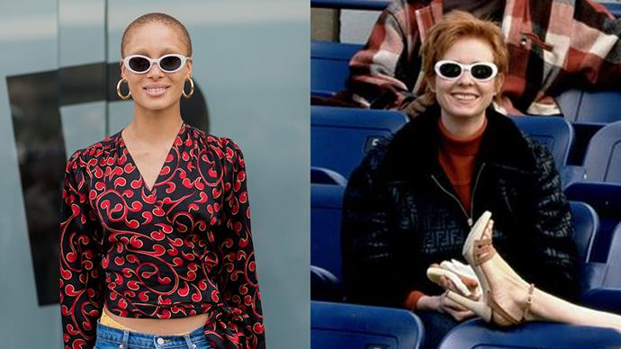 **The White-Rimmed Sunglasses With A Red-And-Black Top**<br><Br> Adwoa Aboah / Miranda Hobbes