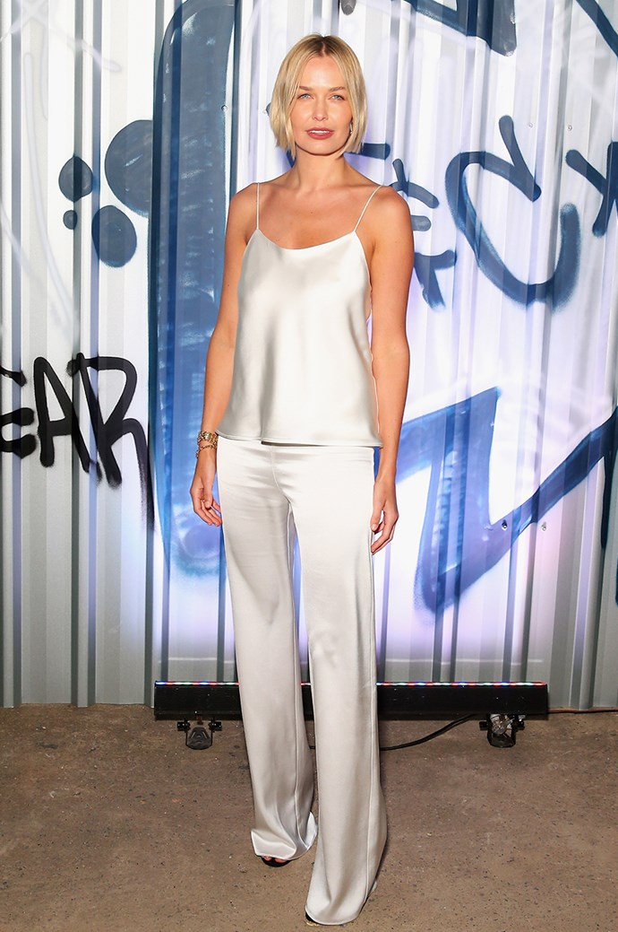 **Lara Worthington:** The model, mum and beauty entrepreneur is renowned for her effortlessly chic style. Our current fave ensemble of hers? These slinky silk cami and pants by Michael Lo Sordo.