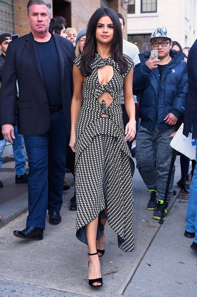 **Selena Gomez:** The singer/actress/[owner of the world's *cutest* puppy](http://www.elle.com.au/celebrity/selena-gomez-the-weeknd-adopt-puppy-14309) made a case for the cut-out dress 2.0 (with more layers and charm) when she wore this Proenza Schouler spring 2017 number in NYC.