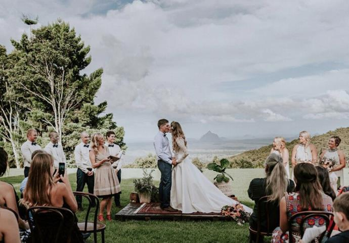 **Maleny Retreat Weddings**, Sunshine Coast, QLD. <br> <br> Set on 100 acres of rolling countryside, this venue boasts a jaw-dropping 180-degree views of the Glasshouse Mountains. There's a permanent tent city already set up and ready to go, with 20 'love shacks' available to book too.  <br> <br> Find out more about [Maleny Retreat Weddings, here](https://www.wedshed.com.au/wedding_venues/maleny-retreat-weddings-2/).