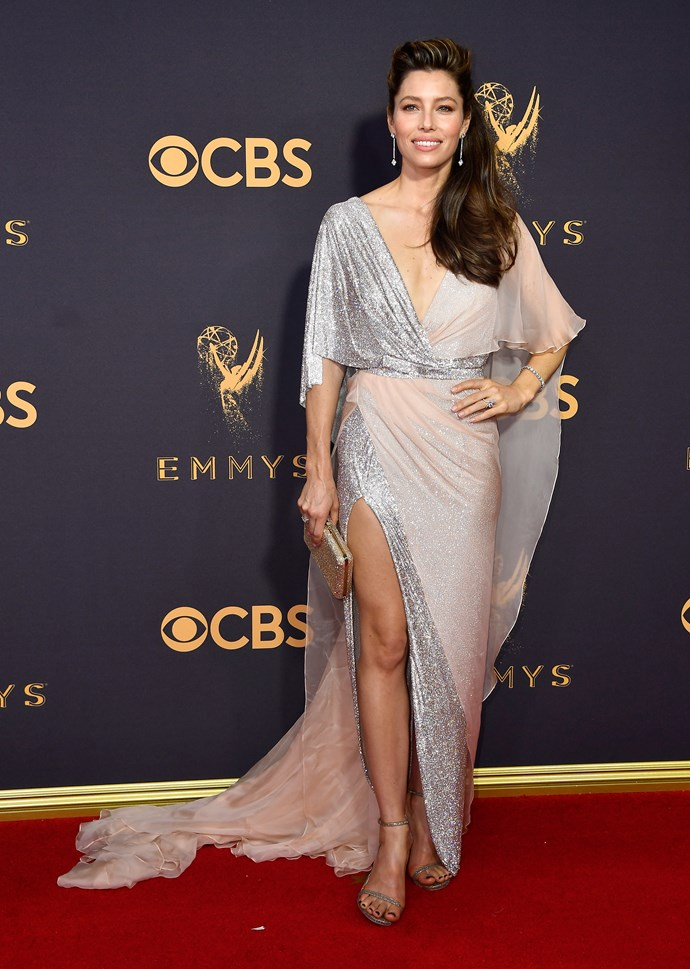 Jessica Biel in Ralph & Russo Couture and Stuart Weitzman shoes
