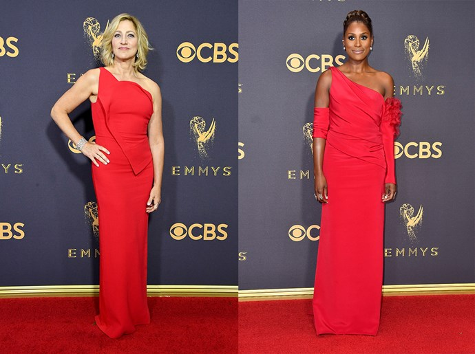 **Edie Falcon / Issa Rae**<br><br> The one-shouldered red column dress