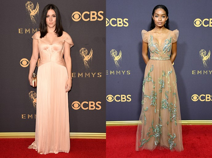 **Shannon Woodward / Yara Shahidi**<br><br> The nude A-line gown with cap sleeves