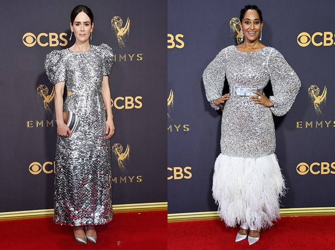 **Sarah Paulson / Tracee Ellis Ross**<br><br> The silver sequined tea-length dress, with exaggerated shoulders