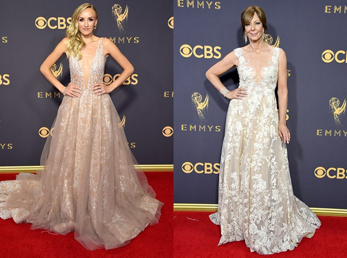 **Nastia Liukin / Allison Janey**<br><br> The nude and white ballgown, with plunging neckline