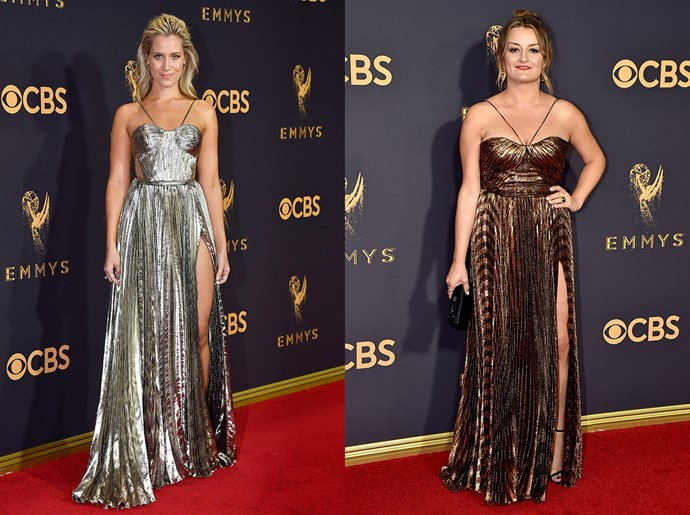 **Kristine Leahy / Alison Wright**<br><br> The metallic bustier dress with halter-neck straps