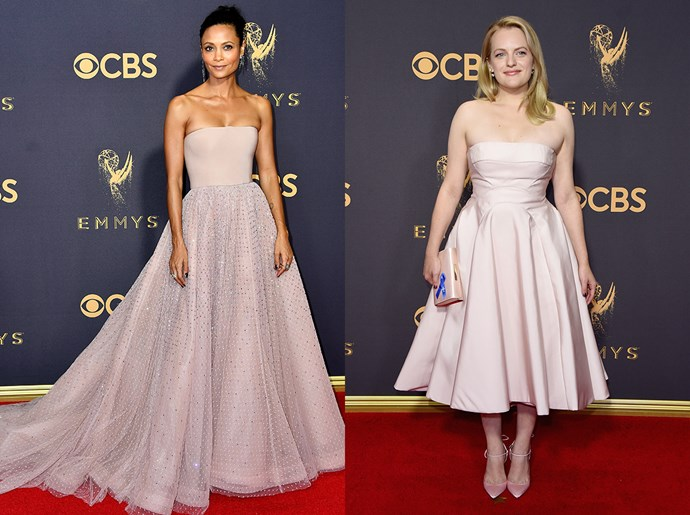 **Thandie Newton / Elisabeth Moss**<br><br> The baby-pink strapless dress with full skirt
