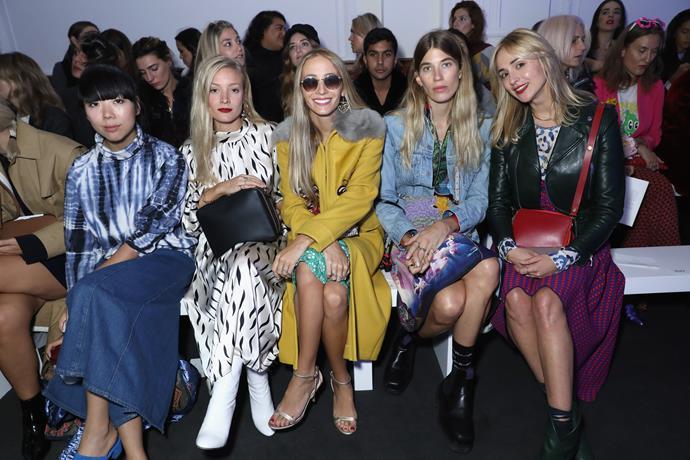 Susie Lau, Kate Foley, Harley Viera Newton, Veronika Heilbrunner and Elisabeth von Thurn und Taxis at Anya Hindmarch