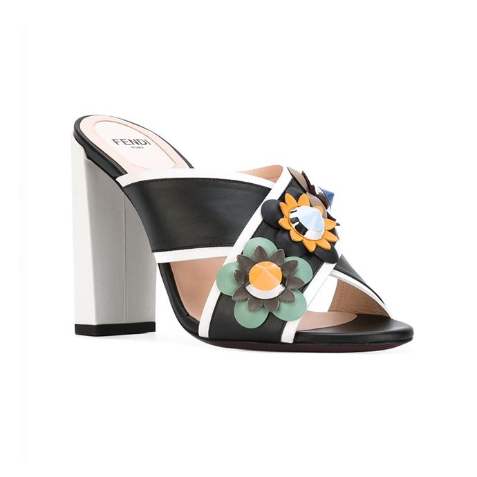 You won't have to sacrifice style or comfort with floral Fendi heels. Mules, $464, [Fendi](http://rstyle.me/n/cse8bnvs36) at LN-CC