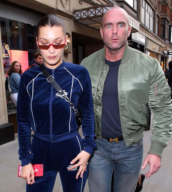 Bella Hadid's bodyguard is a dead-ringer for Rosie Huntington-Whiteley's fiancé, Jason Statham.