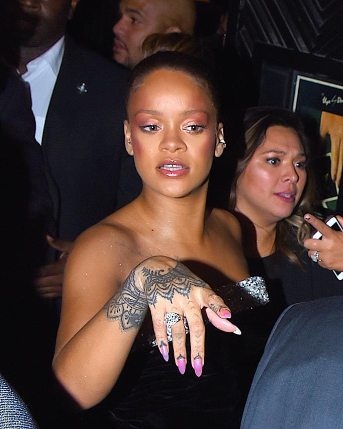 Rihanna opted for a deep pink shade for her cheeks and eyelids.