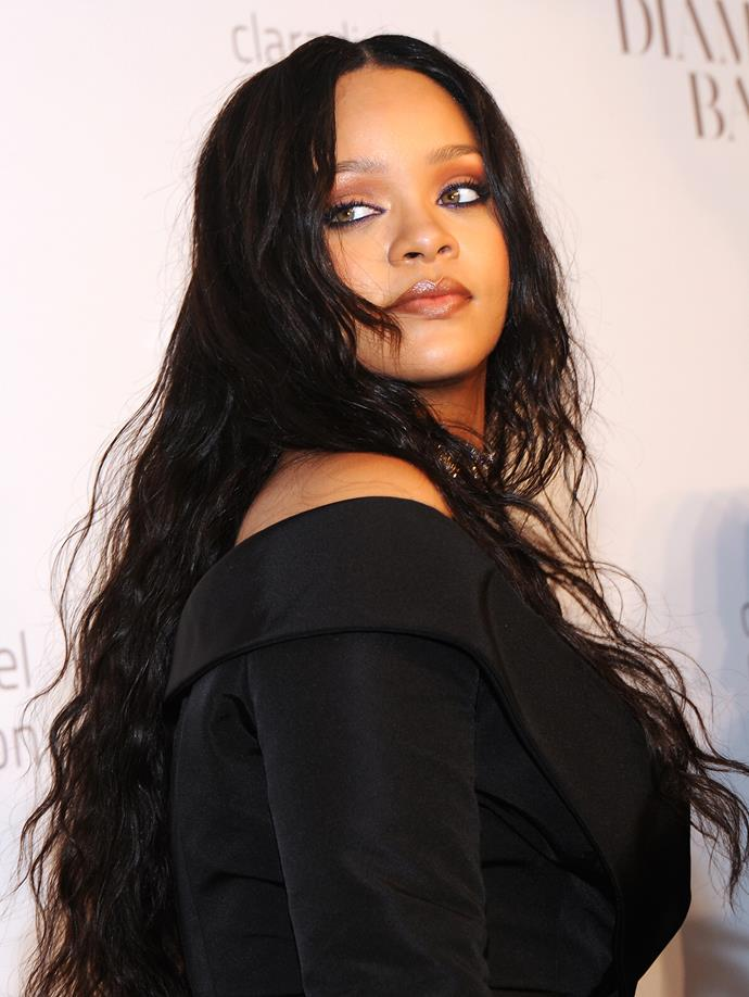 Rihanna's beauty look for the Diamond Ball included a smoky eye and brown lined lips.