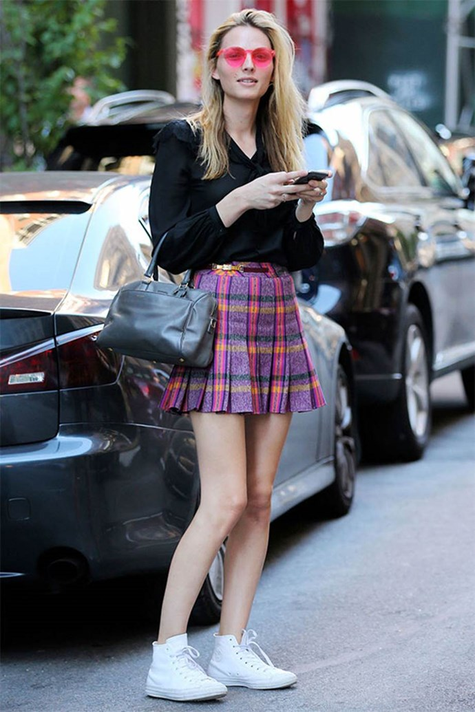 Andreja Pejić donned a thigh-skimming tartan skirt while runnings errands in New York City.