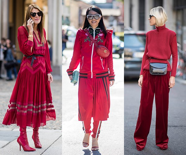 """**Head-To-Toe Red:** Just like New York and London, Milan has delivered a kaleidoscope of colour on the streets—from [Millennial Pink](http://www.elle.com.au/fashion/how-to-wear-millennial-pink-10103), [Gen Z Yellow](http://www.elle.com.au/fashion/gen-z-yellow-14325 target=""""_blank""""), dusky rose and lime green—but one colour seems to have cemented itself as the colour of S/S '18 street style: cherry red. Make like Anna Dello Russo, Yuwei Zhangzou and Linda Tol and wear it from head-to-toe."""