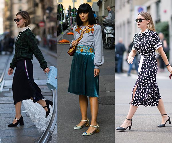 **Midi Mary Janes:** In amongst the bold and the bright, there was a dose of ladylike elegance on the streets of Milan, too. One feminine footwear trend we can definitely get behind is the return of midi Mary Jane heels, seen here on Sophie Eliseeva and Miro Duma.