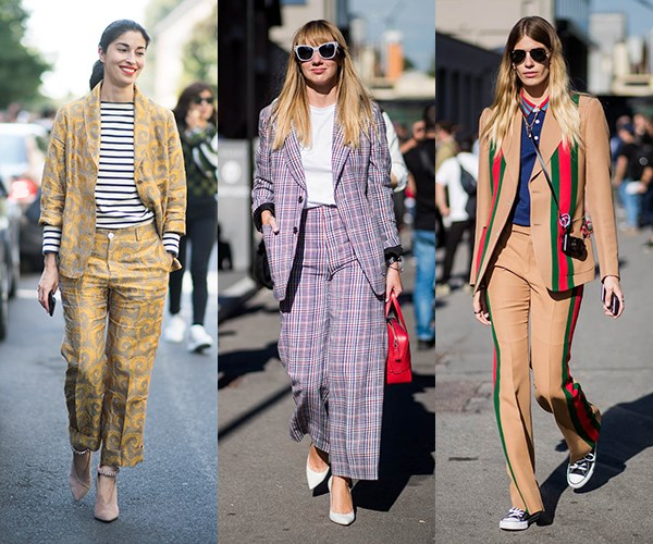 """**Tailoring With A Twist:** Sharp suits got a colourful, patterned or textured makeover on the streets of Milan. Caroline Issa, Lisa Aiken and Veronika Heilbrunner were just a few well-known fashion faces to embrace the """"suits you"""" trend. The take-home? Get thee a checked trouser suit, stat."""