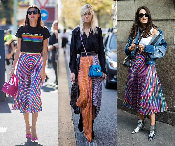 **Rainbow Bright Metallic Skirts:** High-shine is spilling from the runways (Tom Ford, Alice + Olivia, Topshop et. al) to the streets with metallic midi skirts serving as the go-to attire for guests at the S/S '18 shows in Milan. And, as these pics suggest, go colourful—or go home.