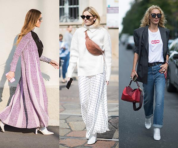 **White Boots:** Proving their staying power, [white boots](http://www.elle.com.au/fashion/trans-seasonal-style-pieces-10093) have reigned supreme for another season. Take lead from Camille Charrière or  Elina Halimi and team them with a floaty maxi skirt or rolled-up denim.