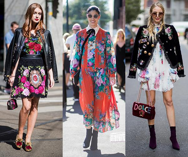 **Fierce Florals:** We can hear the Miranda Priestly retort on the tip on your tongue, but florals *can* be groundbreaking (or at least the height of chic) for spring when layered under chunky outerwear or worn top-to-toe. Case in point: Caroline Issa and Leonie Hanne.