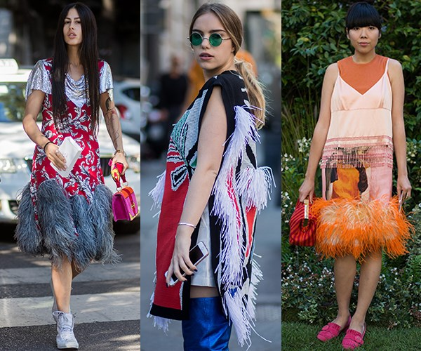 **Feathers:** Prada, Sonia Rykiel and Alexander McQueen were just three (of many) designers who sent feathers down the A/W '17 runway so it's no real surprise that we're seeing the tactile trend hitting the streets of Milan. There's no denying they add an air of fabulous to any look. Just ask Gilda Ambrosio and Susie Bubble.