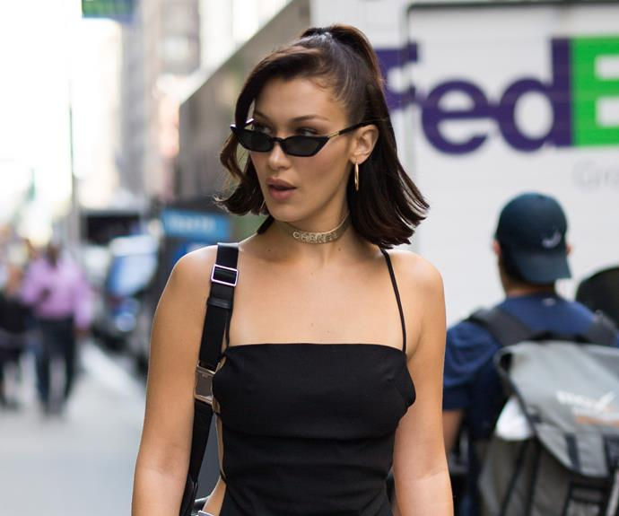 Bella Hadid, wearing the 'Le Skinny' in black.