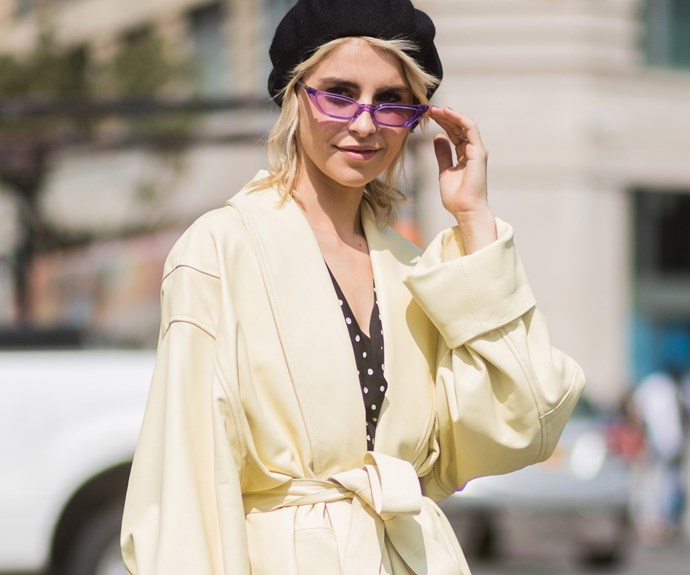 Caro Daur, wearing the 'Le Skinny' in lilac.