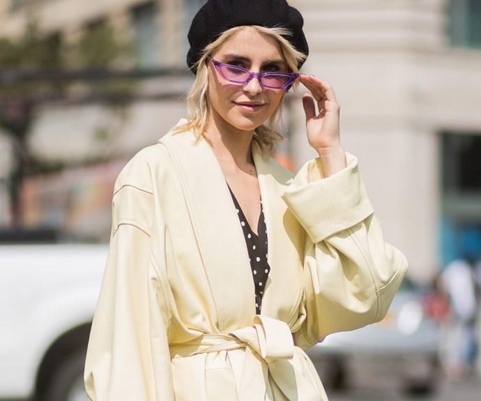 Caro Daur, wearing the 'Le Skinny' in lilac.
