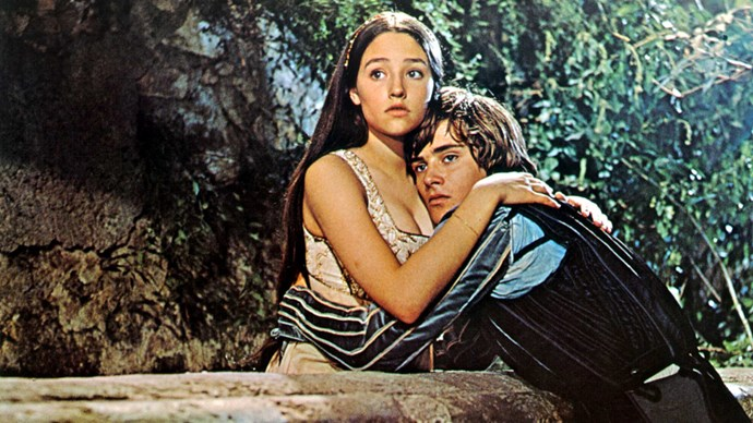 **Leonard Whiting and Olivia Hussey in *Romeo and Juliet*** <br><br> The 1968 film *Romeo and Juliet*, directed by Franco Zeffirelli, has been praised as one of the most loyal and iconic versions of Shakespeare's play. It helped that it was one of the first adaptations to cast actors who were similar ages to the characters in the play. Leonard Whiting was around 17 when he played Romeo, and Olivia Hussey was around 16 when she stepped into the role of Juliet.
