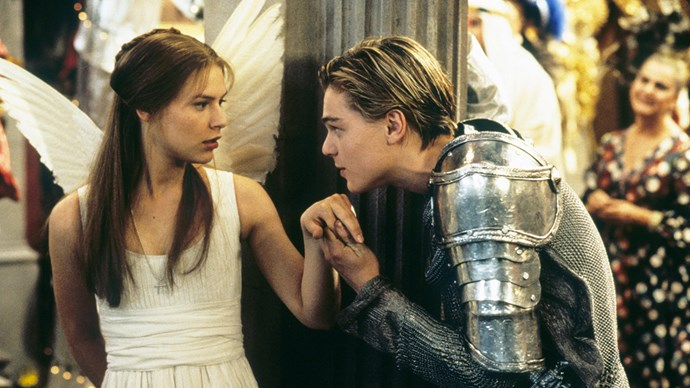 **Leonardo DiCaprio and Claire Danes in *Romeo + Juliet*** <br><br> Leonardo DiCaprio became every girl's crush in the '90s when he was cast as Romeo in Baz Luhrmann's ambitious retelling of the play in 1996. Claire Danes was the perfect, innocent Juliet to his sexy, bad boy Romeo. The scene where they first meet—by catching each other's glances through an aquarium that separated the bathrooms at a costume party—was perfect.