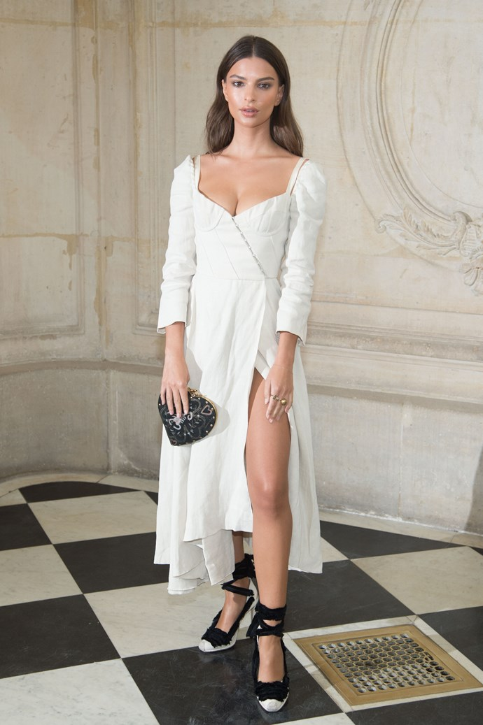 Emily Ratajkowski, at Dior.