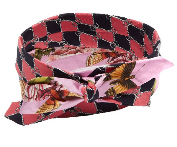 Headband, $620, Gucci at [MatchesFashion](http://www.matchesfashion.com/au/products/Gucci-Contrasting-print-silk-headband-1171383)