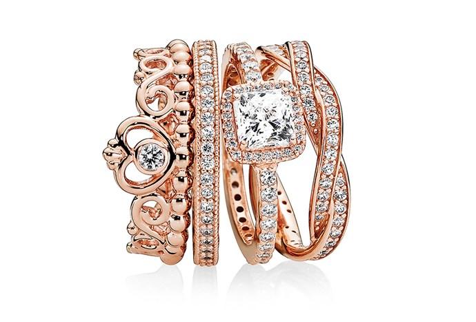 "[PANDORA ROSE MY PRINCESS TIARA RING, $89](http://estore-au.pandora.net/rings/stackable-and-statement-rings/pandora-rose-my-princess-tiara-ring/180880CZ.html?cgid=stackable-statement-rings&navid=search&src=categorySearch|target=""_blank""|rel=""nofollow"") [PANDORA ROSE HEARTS OF PANDORA RING, $99](http://estore-au.pandora.net/rings/pandora-rose-rings/pandora-rose-hearts-of-pandora-ring/180963CZ.html?cgid=pandora-rose-rings&src=categorySearch|target=""_blank""|rel=""nofollow"") [PANDORA ROSE TIMELESS ELEGANCE RING, $129](http://estore-au.pandora.net/rings/stackable-and-statement-rings/pandora-rose-timeless-elegance-ring/180947CZ.html?cgid=stackable-statement-rings&navid=search&src=categorySearch|target=""_blank""|rel=""nofollow"") [PANDORA ROSE BRAIDED PAVÉ RING, $149](http://estore-au.pandora.net/rings/stackable-and-statement-rings/pandora-rose-braided-pave-ring/180892CZ.html?cgid=stackable-statement-rings&src=categorySearch|target=""_blank""|rel=""nofollow"")"