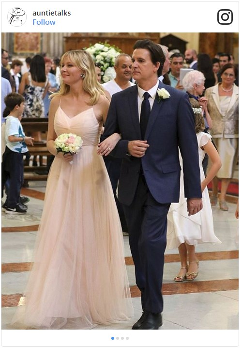 Kirsten Dunst took on the role of bridesmaid at her best friend Cindy McGee's wedding to pharmaceutical executive John Manieri, in Rome. Image from [@auntietalks](https://www.instagram.com/p/BZwWHthhN9a/?tagged=kirstendunst)