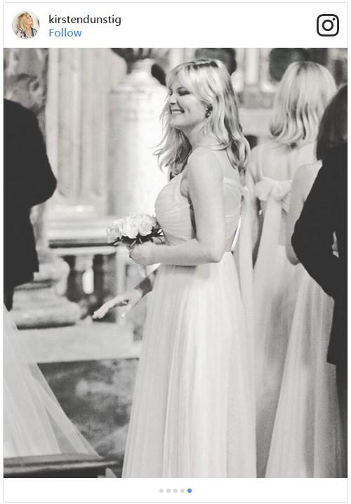 Kirsten loving her bridesmaids duties in Rome. Image from [@kirstendunstig](https://www.instagram.com/p/BZwvPQsleBF/?tagged=kirstendunst)