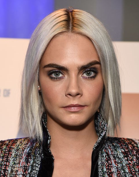 CARA DELEVINGNE WITH A POKER STRAIGHT BOB