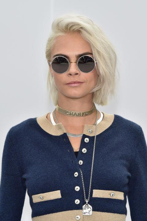 CARA DELEVINGNE WITH A WINDSWEPT BLONDE BOB
