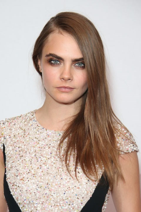 CARA DELEVINGNE WITH LIGHT BROWN HAIR