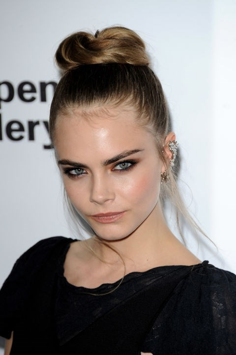 CARA DELEVINGNE WITH A TOP KNOT