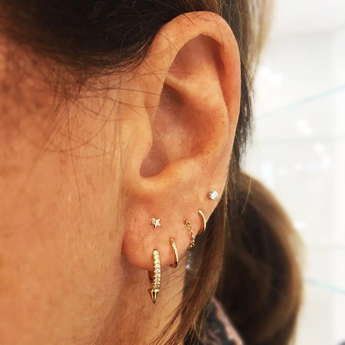 The slightly higher star studs adds a stunning point of difference to this lobe arrangement. Also, five holes in a row never looked so chic. <br><br> Image: [@lanikate92](https://www.instagram.com/p/BX2whakDf6W/?taken-by=maria_tash)