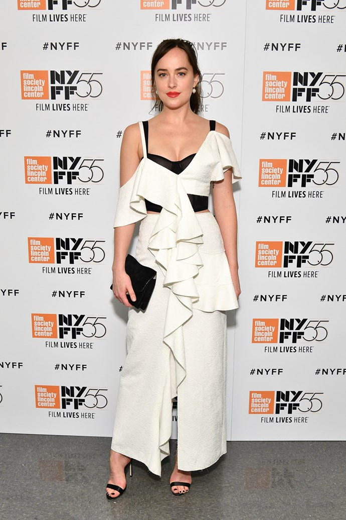 Dakota stepped out in Proenza Schouler to attend the premiere of *Call me By Your Name* at the New York film festival.