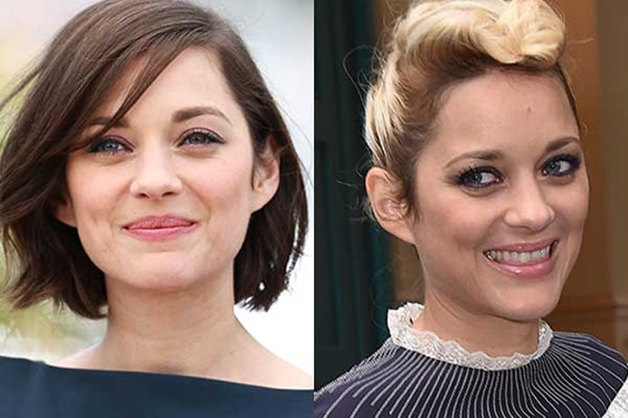**Marion Cotillard** <br><br> French actress Marion Cotillard is known for her cute-as-a-button brunette bob. But recently, she stepped out with a new peroxide blonde colour *and* edgy braids.
