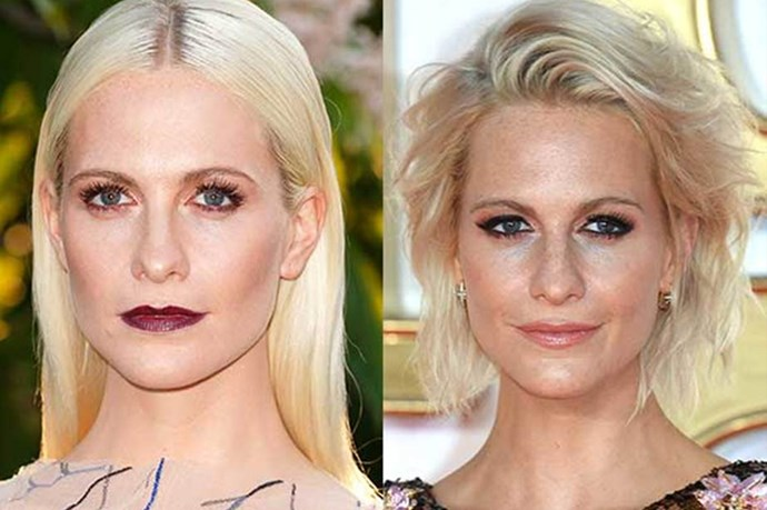 **Poppy Delevingne** <br><br> English model/actress/sister of Cara, Poppy Delevingne, is usually seen about town with long blonde hair. But recently, she lopped it all off.