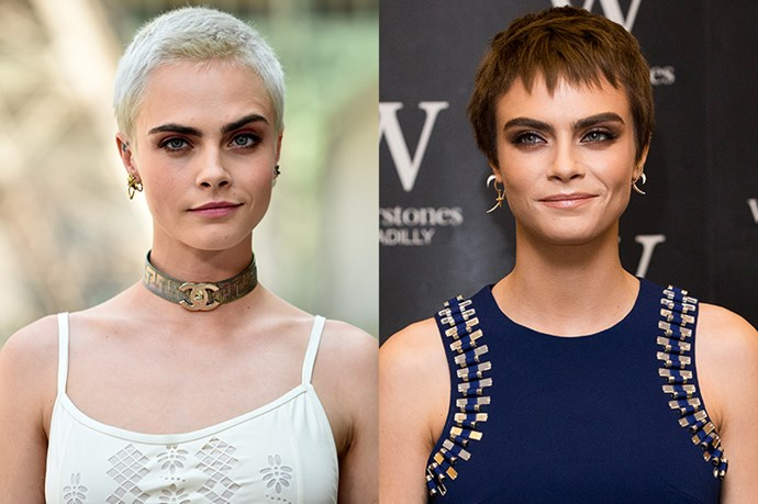 **Cara Delevingne** <br><br> Going from one change to the next, Cara Delevingne debuted some newly-dyed locks at the launch of her book, *Mirror, Mirror.*