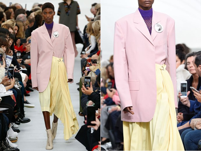 **Céline:** Tuck one jacket flap into flowing skirts to create shape and structure.