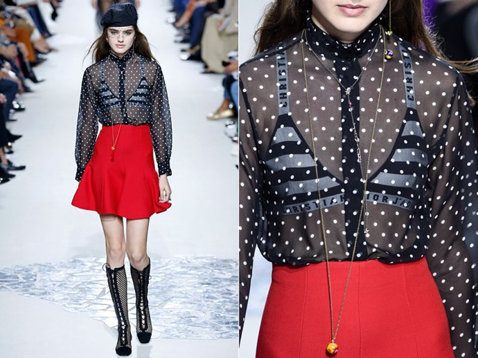 **Dior:** Wear a patterned bikini top or bralette under sheer garments to add an extra dimension to your look.