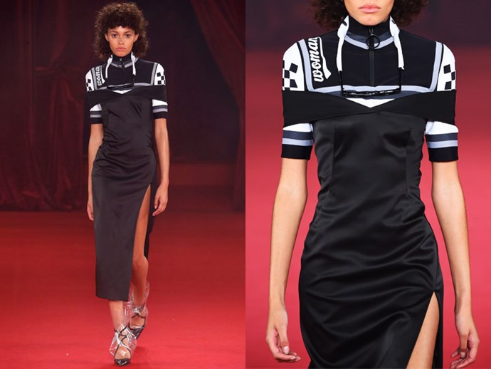 **Off/White:** Dress down a formal evening gown by layering a matching sports top underneath.