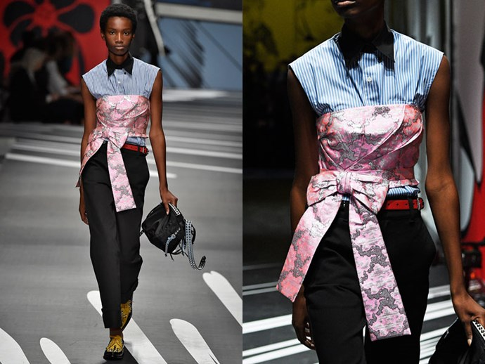 **Prada:** Add a feminine touch to a trouser and shirt combo by tying a floral bustier over the top.