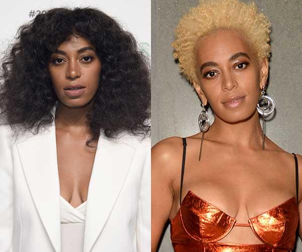 **Solange Knowles** <br><br> When it comes to hair, Solange Knowles isn't afraid to switch things up. Her latest look? A peroxide blonde 'fro.