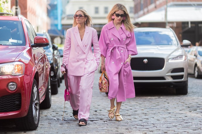 **Ode to Hillary**<br><br>  Hillary Rodham Clinton may not have taken out the presidency, but her presence was felt all over New York nonetheless, with her signature pantsuit reigning supreme in feminine baby pink tones.