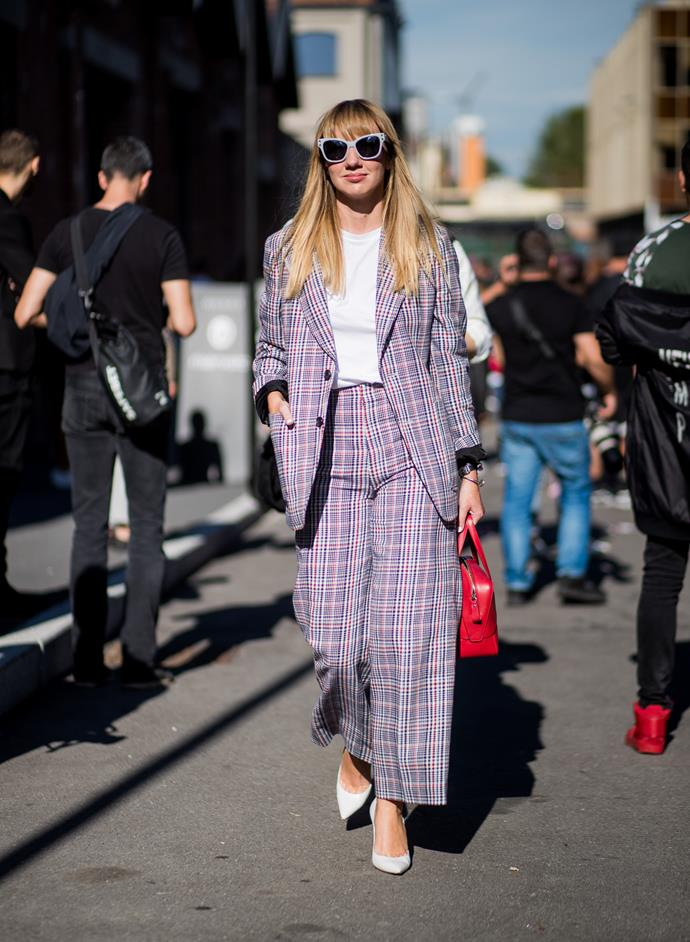 **Check yourself**<br><br>  Checks were the print du jour at every leg of fashion month, be it *Clueless* inspired blazer/skirt iterations, statement coats or good ol' fashioned blazers.